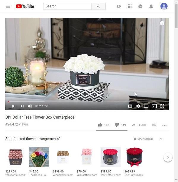 Реклама товаров из видео на YouTube. Новый тест рекламы, подробнее...