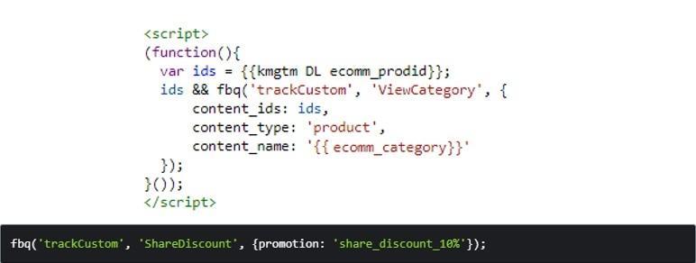 Код, который используется при настройке специально настроенных событий в Facebook Пиксель